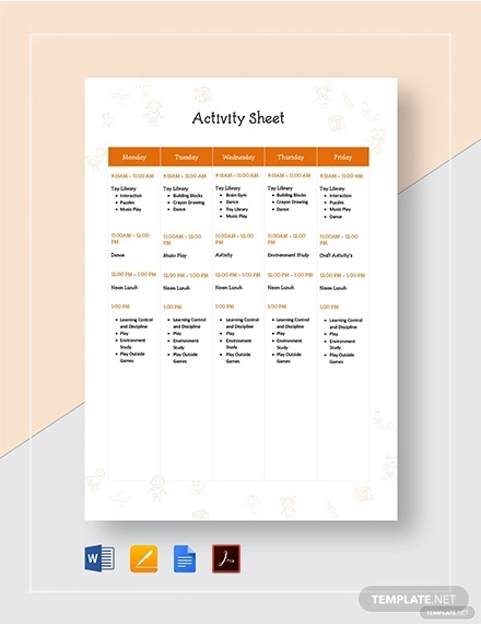 activity sheet template