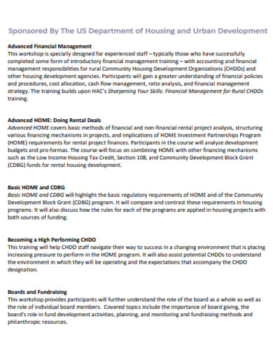 advanced housing financial department management