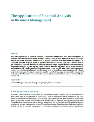 application of financial analysis in business management