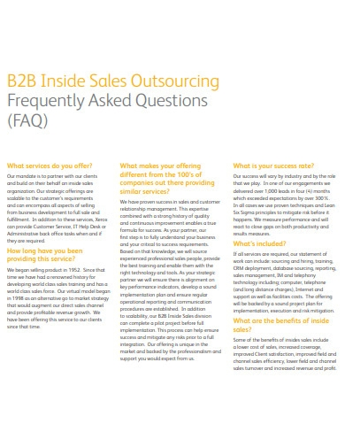 b2b inside sales outsourcing questions