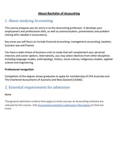 bachelor of accounting essential example