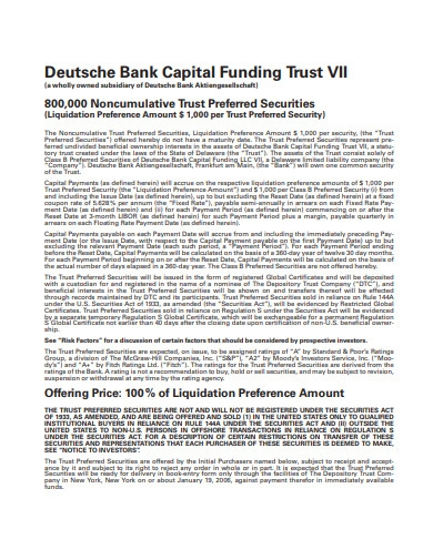 bank capital funding trust example