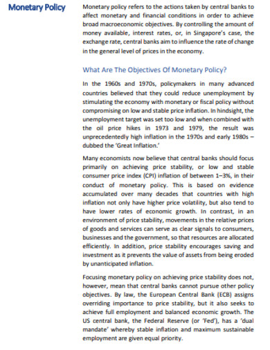 basic monetary policy example