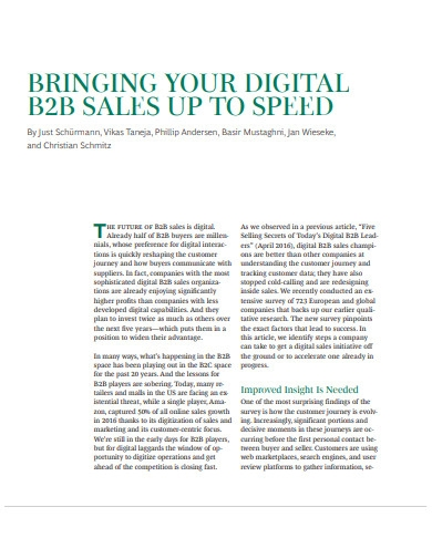 bringing digital b2b sales up to speed