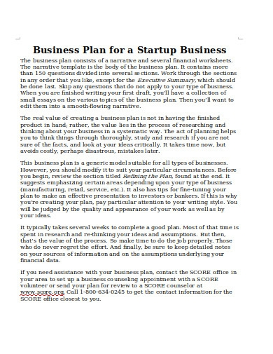 business plan for startup business