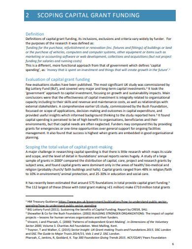 capital grant funding report