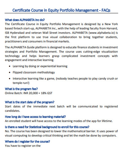 certificate course in equity portfolio management