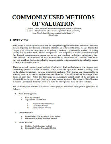 commenly used metods of valuation