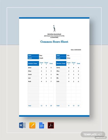 common score sheet template