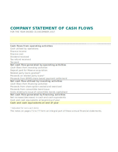company statement of cash flows