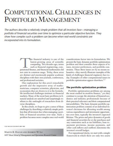 computational challenges in portfolio management