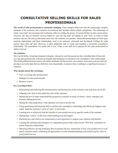consultative selling skills for sales professionals