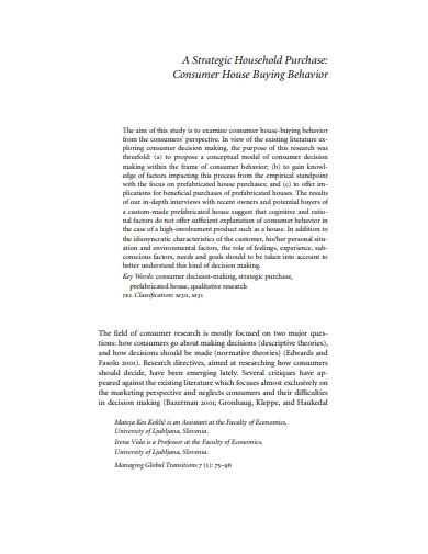 consumer house buying bheaviour