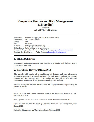 corporate finance and risk management