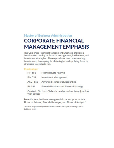 corporate financial management emphasis