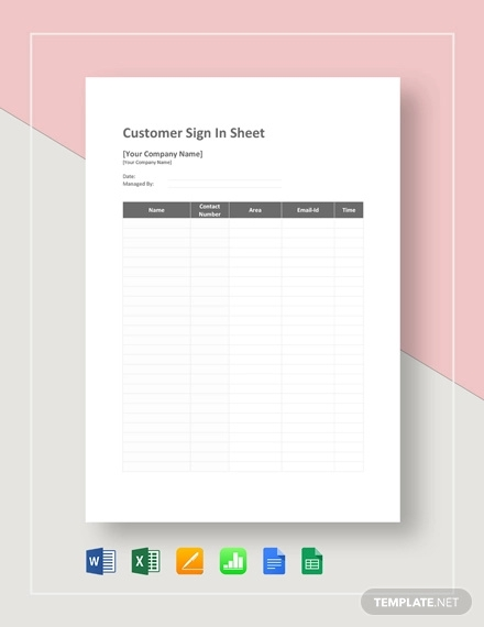 image about Customer Sign in Sheet referred to as Totally free 17+ Signal-Within just Sheet Illustrations Samples in just PDF Document