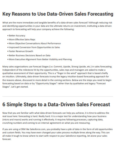 data sales forecasting example
