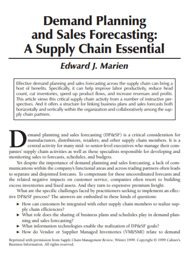 demand planning and sales forecasting example