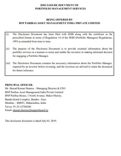disclosure document of portfolio management