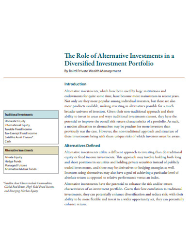 diversified investment portfolio example