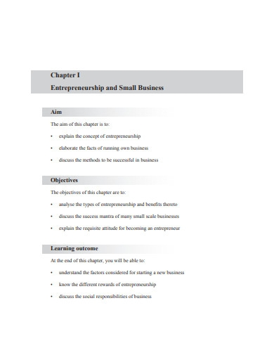 entrepreneurship and small business management example