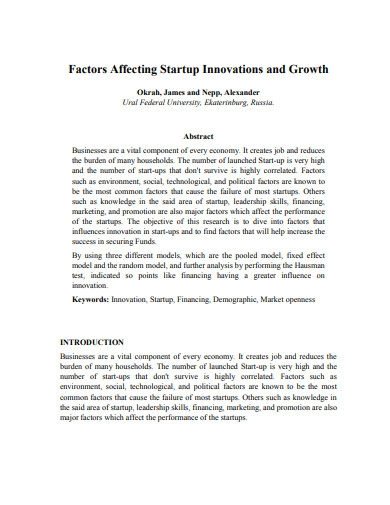 factors affecting startup innovations and growth