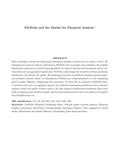 fintechs and market of financial analysis