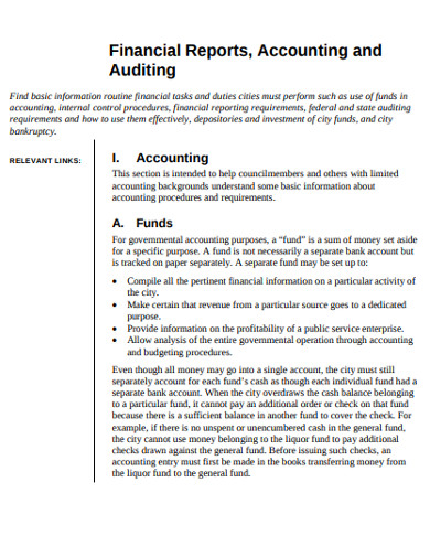 financial accounting and auditing report
