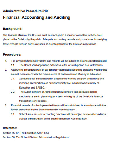 financial administrative accounting and auditing