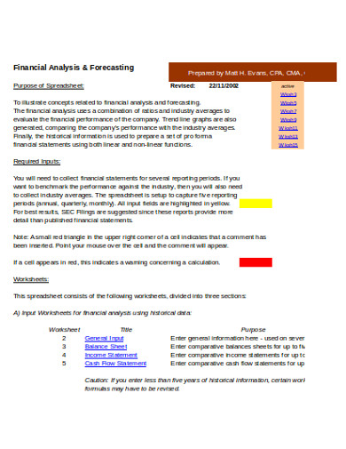 financial analysis and forecasting example