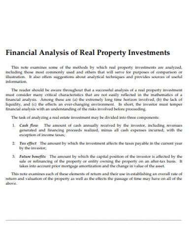 financial analysis of real property investments