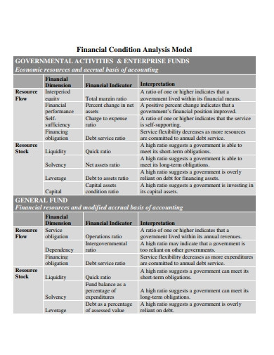 financial condition analysis model