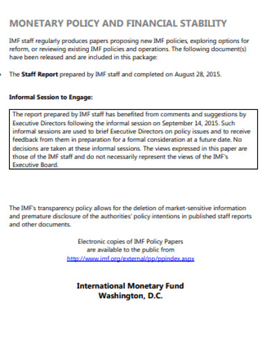 financial monetary policy