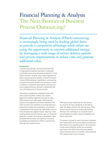 financial planning and analysis example