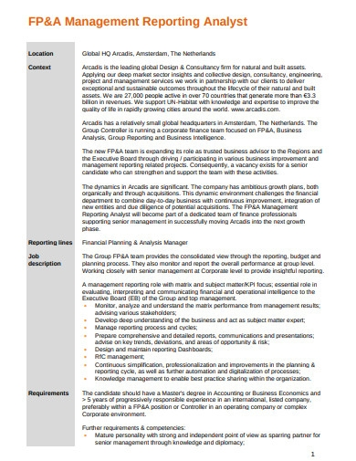 financial planning and analysis management report
