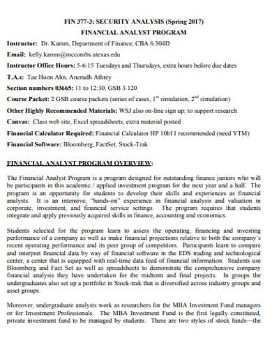 financial security analysis program