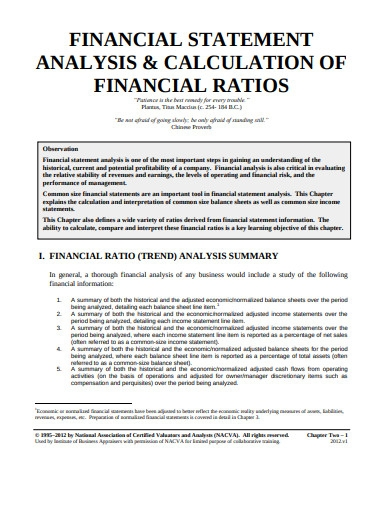 financial statement analysis and financial ratio