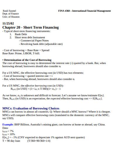 formal short term financing example