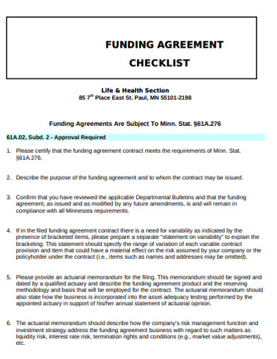 funding agreement checklist example