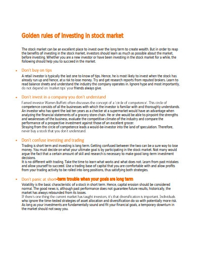golden rules of investing in stock market