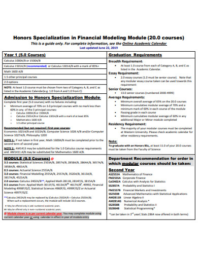 honors specialization in financial modeling example