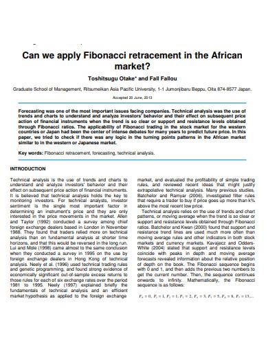 how can we apply fibonacci retracement in african market