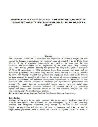 imperatives of variance analysis for cost control in business organization