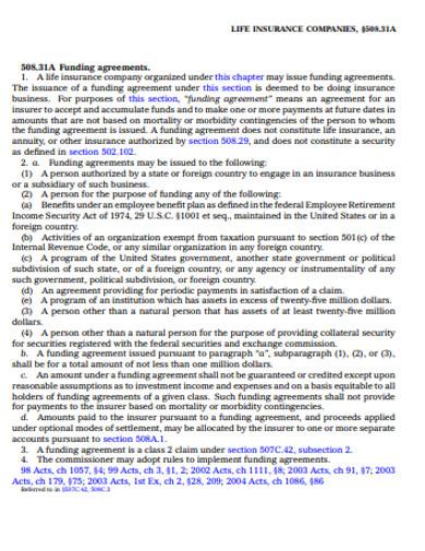 insurance company funding agreement