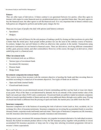 investment analysis and portfolio management example