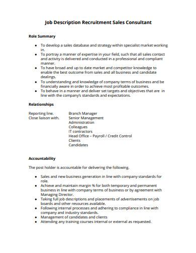 job description recruitment sales consultant