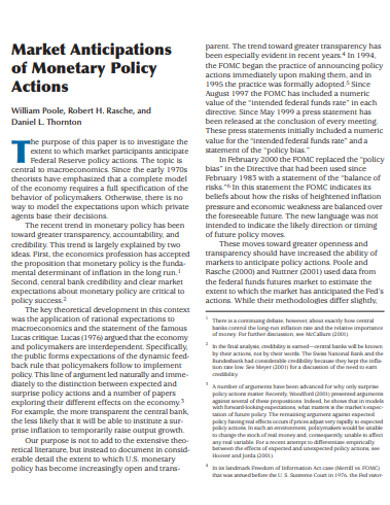 market anticipations of monetary policy