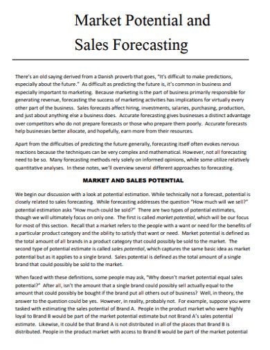 marketing sales forecasting example