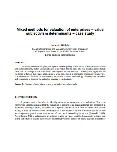 metods for valuation of entreprises