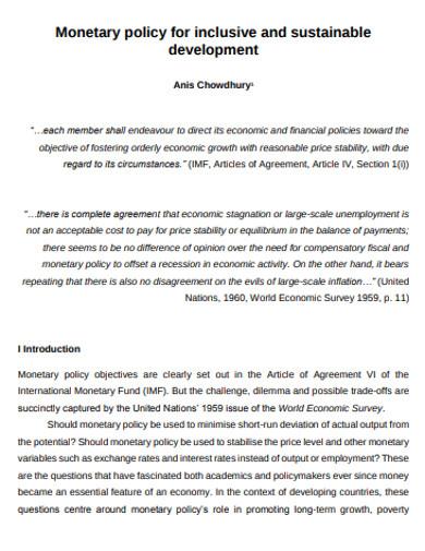 monetary development policy